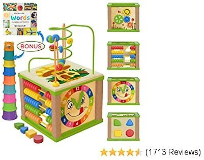 TOYVENTIVE Wooden Kids Baby Activity Cube - Girls Gift Set   1st Birthday Gifts Toys for 1 One, 2 Year Old Girl   Developmental Toddler Educational Learning Girl Toys 12-18 Months   Bead Maze