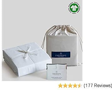 100% Organic Cotton King White Sheet Set | Sateen Weave | 4 Piece | 400 Thread Count | GOTS Certified | Soft Silky Shiny | Luxury Finish | Fits Upto 17