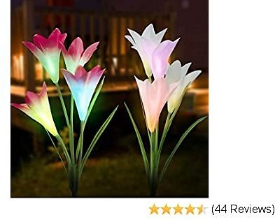 HENMI Solar Garden Lights 2 Pack, Outdoor Solar Lights with 8 Lily Flower, Waterproof Ultra-Long Battery Life Solar Panel 7 Color Lights Outdoor Decorative for Patio Backyard Garden Front Yard Decor