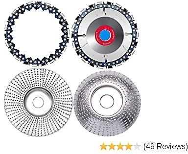 Angela&Alex 4Pcs Wood Carve Disc, Teeth Shaper Angle Shaping Disc for Wood Carving Cutting (22 Teeth, 4Inch with Replaceable Chain) for Father's Day