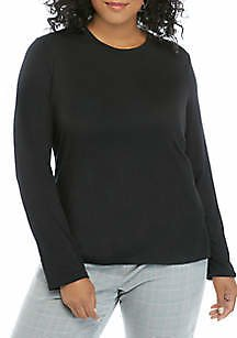 THE LIMITED Plus Size Long Sleeve Crew T Shirt