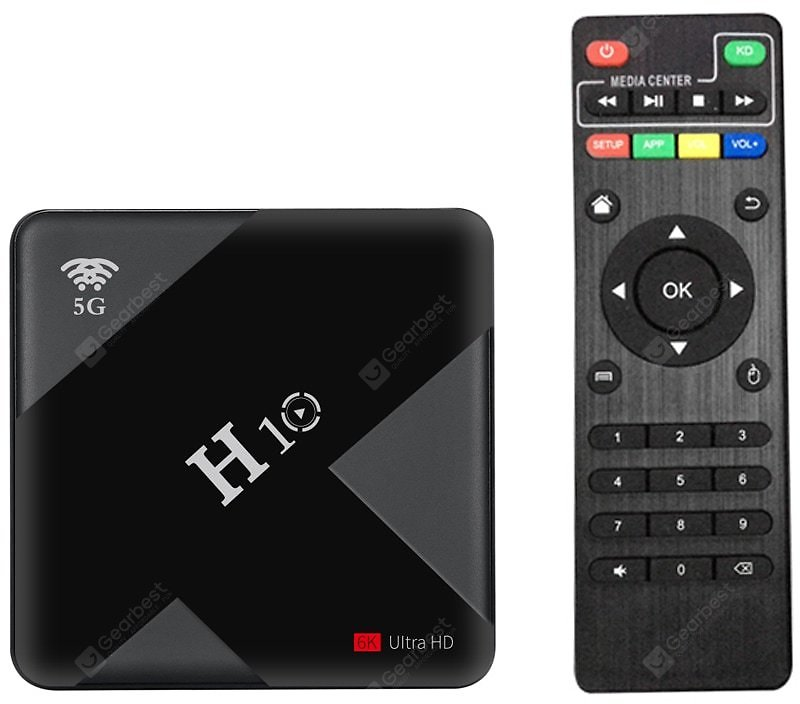 H10 Smart 6K Android TV Box - Black 4GB RAM + 32GB ROM