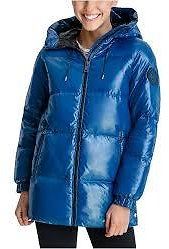 Michael Kors High-Shine Hooded Down Puffer Coat, Created for Macy's & Reviews - Coats - Women