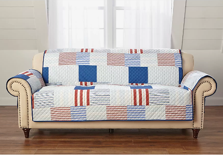 Printed Faux Patchwork Sofa Protector