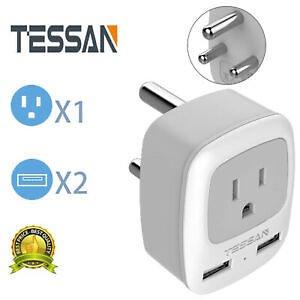 Power Adapter Plug with 2 USB &1 Outlet for Travel USA to SOUTH AFRICA-Type M