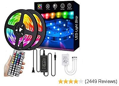 LED Strip Lights,32.8ft RGB 300LEDs Waterproof Light Strip Kits with Infrared 44 Key, Suitable for Room,TV, Ceiling, Cupboard Ba
