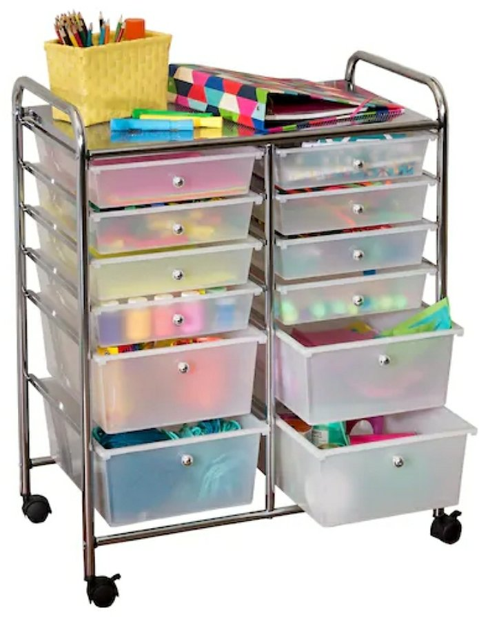 Honey Can Do Rolling Storage Cart with 12 Drawers