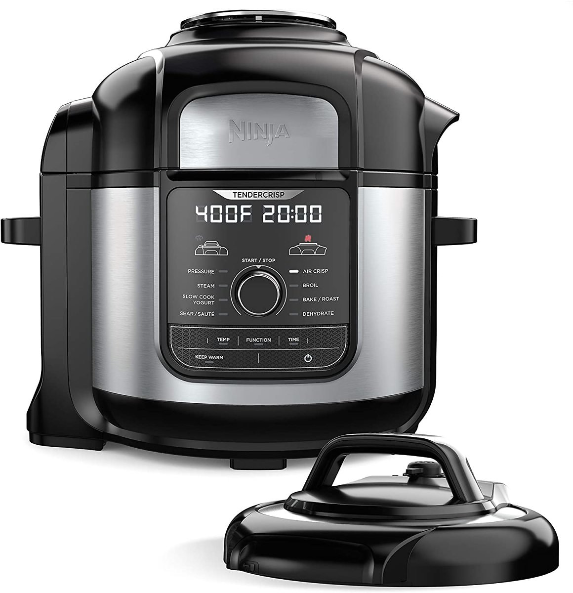 Ninja Foodi 9-in-1 Pressure, Broil, Dehydrate, Slow Cooker, Air Fryer, and More, with 8 Quart Capacity and 45 Recipe Book, and a Stainless Finish