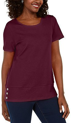 Karen Scott Button-Hem Scoop-Neck Cotton Top, Created for Macy's & Reviews - Tops - Women