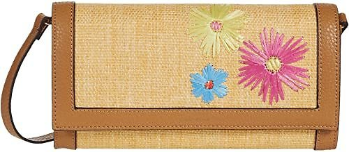 Anne Klein Embroidered Straw Clutch