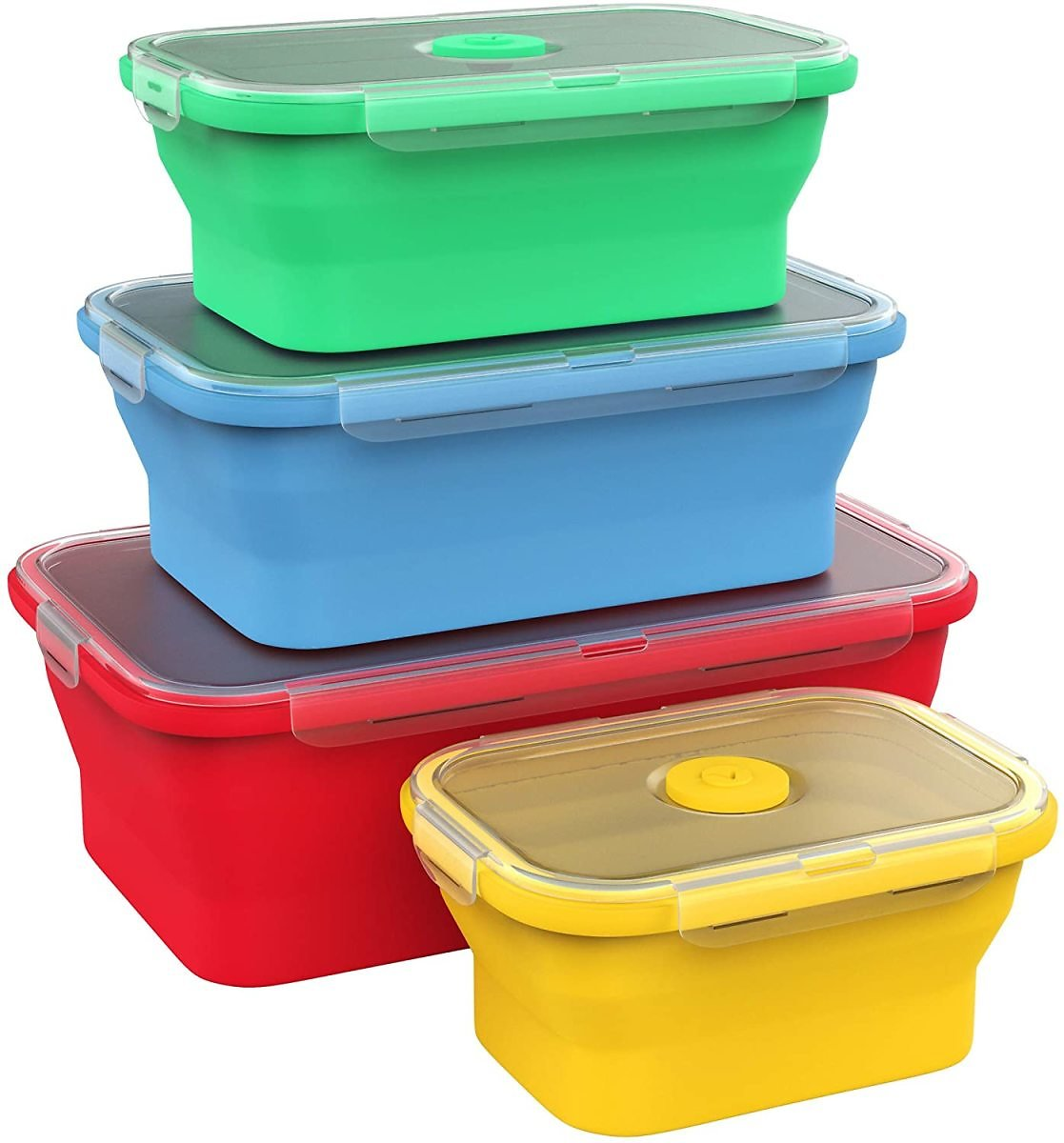 Vremi Collapsible Silicone Food Storage Containers with BPA Free Airtight Plastic Lids