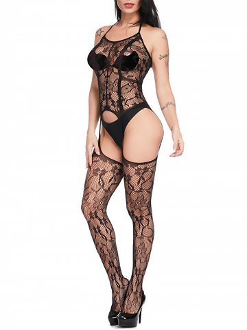 Floral Pattern Hollow Out Sexy Fishnet Stockings Teddy