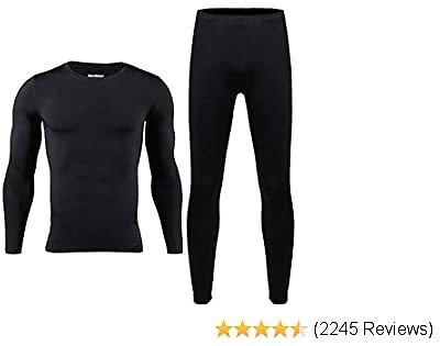 EXTRA 50% OFF Mens Thermal Underwear Set Skiing Winter Warm Base Layers Tight Long Johns Top and Bottom Set with Fleece Lined