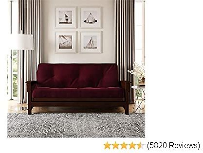 Top DHP 8-Inch Independently Encased Coil Futon Mattress, Full Size, Merlot, Frame Not Included