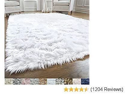 GORILLA GRIP Original Premium Faux Fur Area Rug, 4 FT X 6 FT, Softest, Luxurious Carpet Rugs for Bedroom, Living Room, Luxury Bed Side Plush Carpets, Rectangle, Pure White