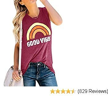Womens Tank Tops Good Vibes Summer Graphic