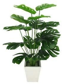 50CM18Heads Fake Plants Home Decora Artificial Green Monstera Leaves X6A1