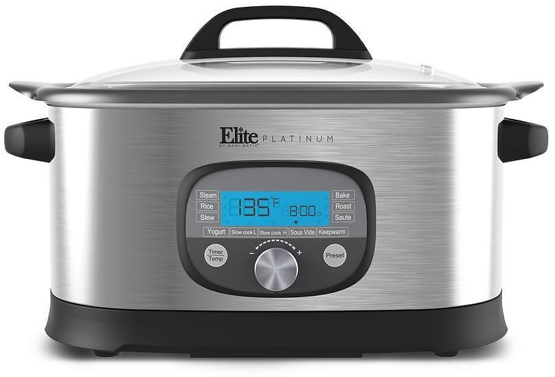 Elite 6.5 Qt. Stainless Steel Electric Multi-Cooker with Aluminum Pot