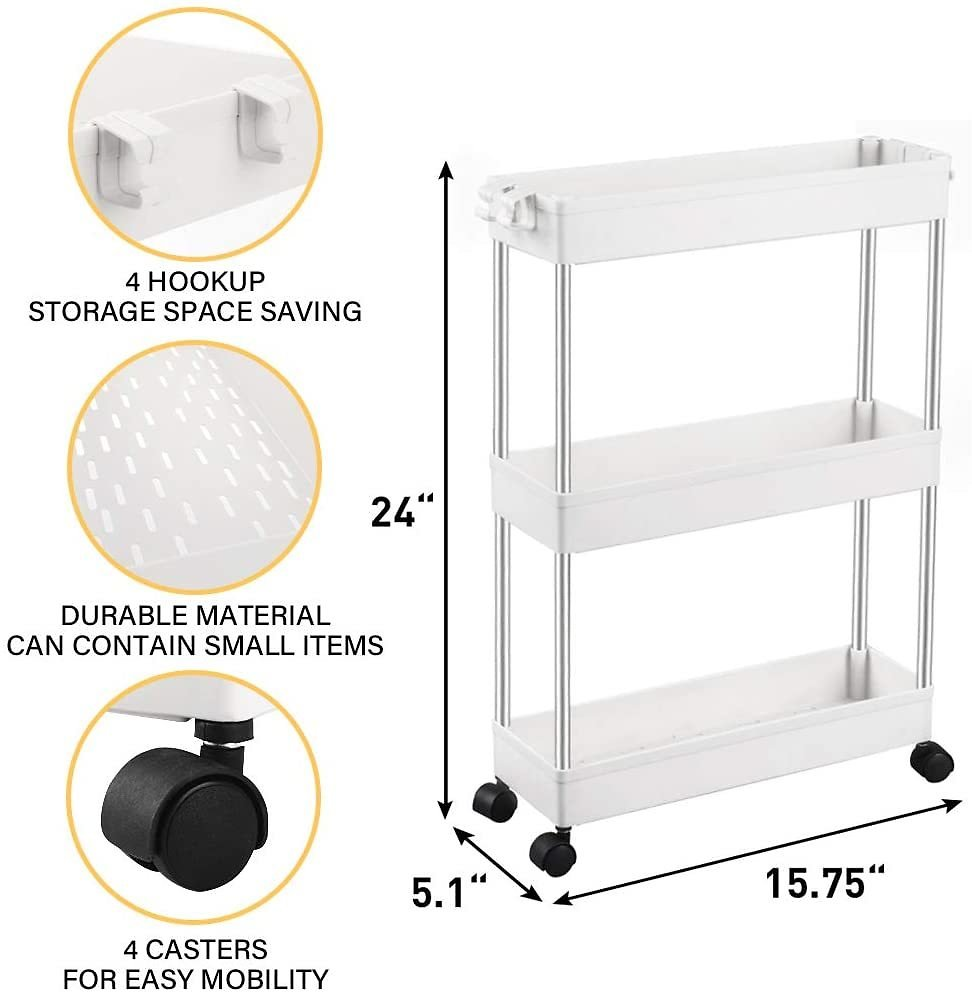 SPACEKEEPER 3 Tier Slim Storage Cart Mobile Shelving Unit Organizer Slide Out Storage Rolling Utility Cart Tower Rack for Kitchen Bathroom Laundry Narrow Places, Plastic & Stainless Steel, White