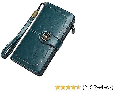 Extra 50% Off Wallet for Women Large Capacity RFID Blocking Real Leather Purse Clutch Checkbook