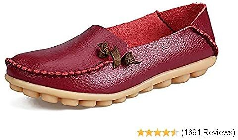 Labato Women's Leather Loafers Comfortable Slip On Leather Driving Shoes Casual Flat Shoes