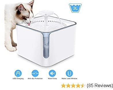 Nemobub Pet Water Fountain,100oz/3L Automatic Cat Water Fountain Dog Water Dispenser with 3 Replacement Filters, 2 Water Outlet