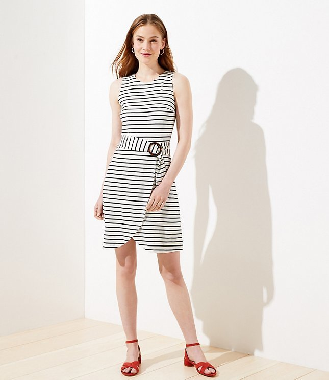 Today Only! Striped Tortoiseshell Print Belted Wrap Dress
