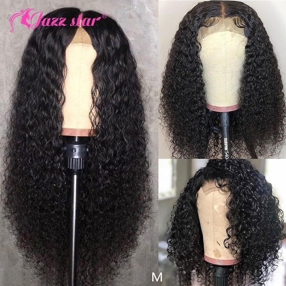 Brazilian Wig 4x4 Lace Closure Wig Kinky Curly Human Hair Wig Preplucked Human Hair Wigs for Black Women Non-Remy Jazz Star Hair