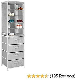 MDesign Soft Fabric 10 Cube Shoe Rack Holder & 4 Drawer Modular Closet Unit Organizer - Storage Tower for Bedroom, Nursery, Mudroom, Garage, Kids Playroom - Metal Frame, Easy Assembly - Gray
