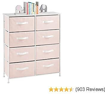 MDesign 8-Drawer Furniture Storage Tower - Sturdy Steel Frame, Easy Pull Fabric Bins - Organizer Unit for Kid's Bedrooms, Playrooms, Nurseries - Pink/White