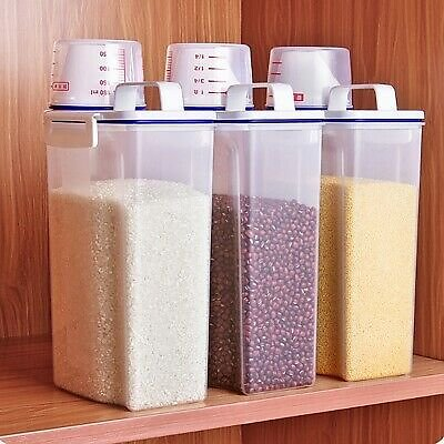 2L Plastic Cereal Dispenser Storage Box Kitchen Food Grain Rice Beans Container
