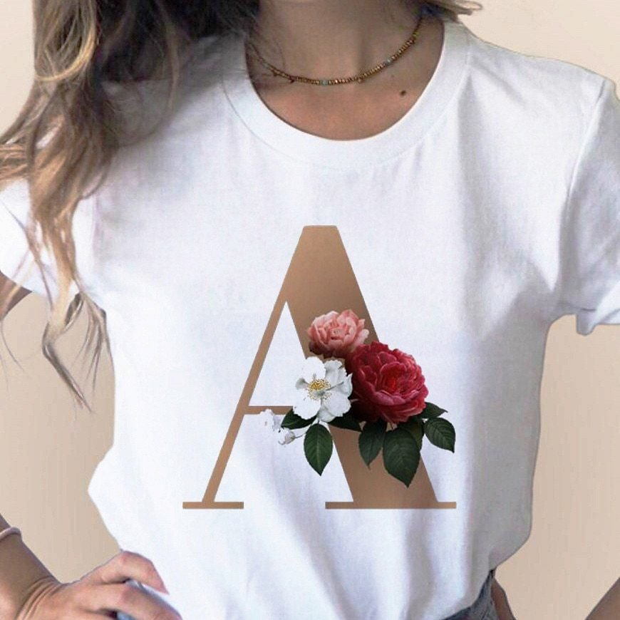 US $2.98 50% OFF|Custom Name Letter Combination Women's High Quality Printing T Shirt Flower Letter Font A B C D E F G Short Sleeve Clothes|T-Shirts| - AliExpress