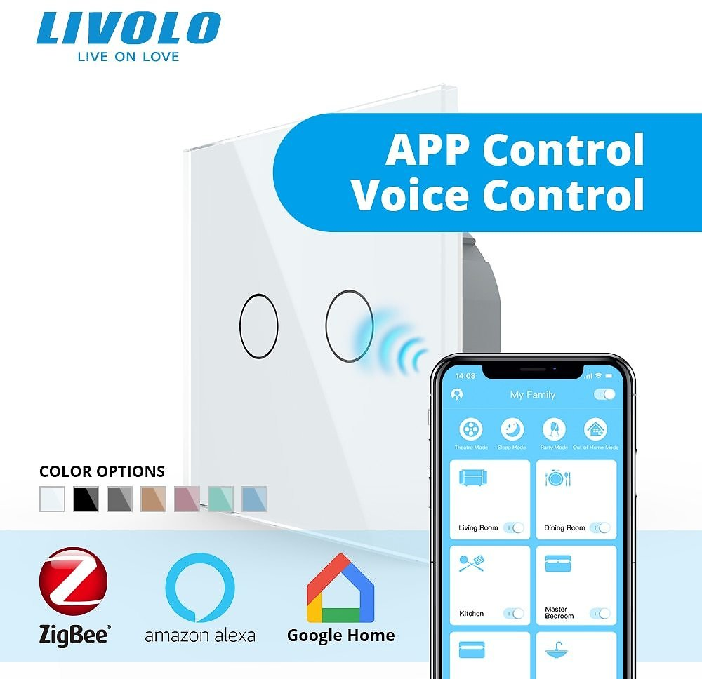 Livolo APP Touch Control Zigbee Wifi Smart Touch Switch,smart Home Automation Wireless Echo,alexa,google Home Control