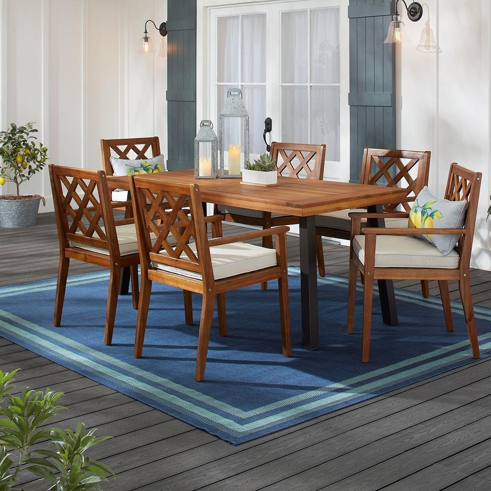 Hampton Bay Willow Glen Farmhouse 7-Piece Wood Outdoor Patio Dining Set with Teak Finish and Beige Cushion-81984