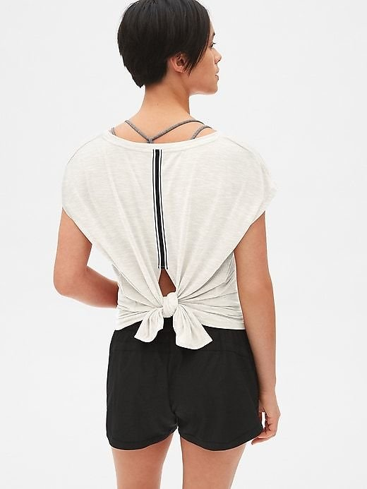 GapFit Breathe Tie-Back Stripe Detail Top | Gap