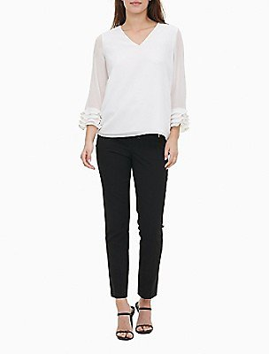 Solid V-Neck Sheer Tiered Sleeve Top | Calvin Klein