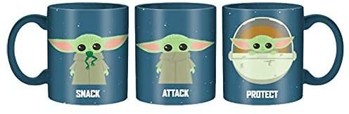 Silver Buffalo Star Wars The Mandalorian Protect Attack Snack Ceramic Mug, 20-Ounce, Blue