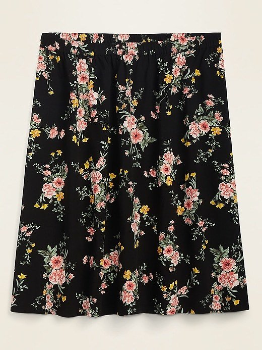 Soft Woven Printed Plus-Size Skirt