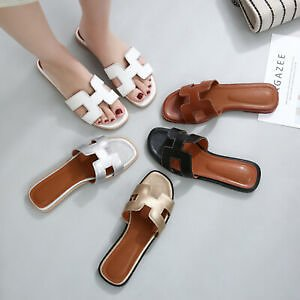 Chic Comfort Leather Slide Slippers Brown Sandals Beach Pool Summer Women Shoes