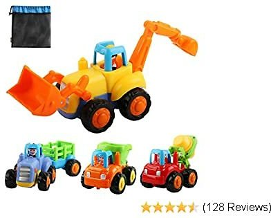Extra 50% Off Friction Powered Cars, Push and Go Construction Vehicles Toys, 4 PCS Early Educational Toddler Toy Set