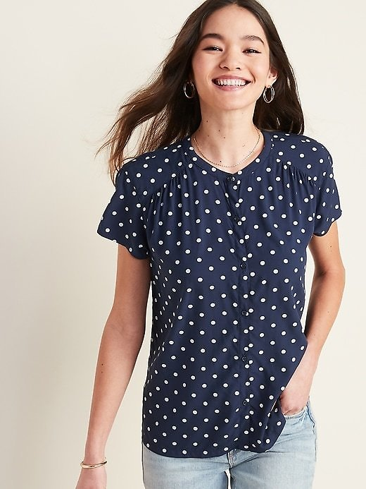Printed Banded-Collar Shirt for Women | Old Navy