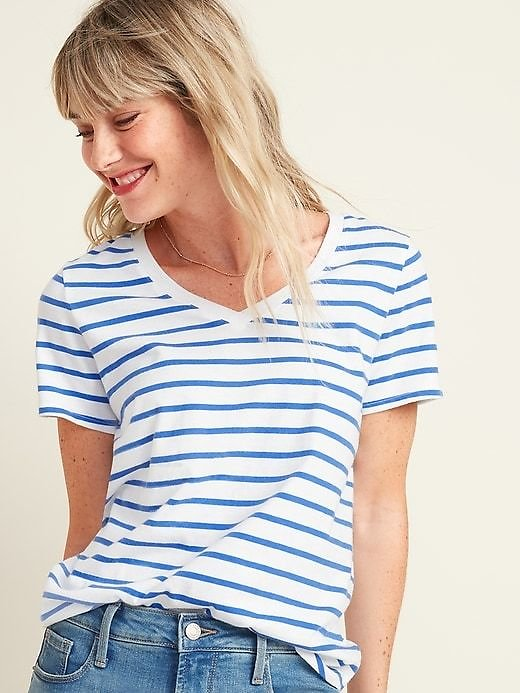EveryWear Striped V-Neck Tee for Women   Old Navy