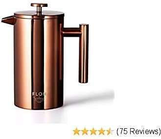 FLOH French Press for Coffee & Tea in Rose Gold Copper - Large 4 Cup Insulated Stainless Steel Coffee Maker