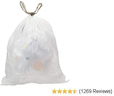AmazonCommercial Custom Fit White Drawstring Trash Bags - Compatible with Simplehuman Type Q - 1.13 MIL - 62 Count