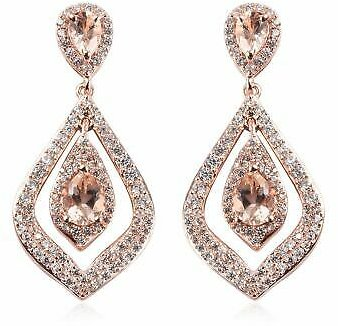 925 Sterling Silver Rose Gold Over Morganite Dangle Drop Earrings Jewelry Cts 1