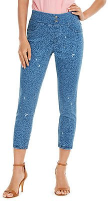 Women's High-Rise Ditsy Floral-Print Denim Skimmer Leggings