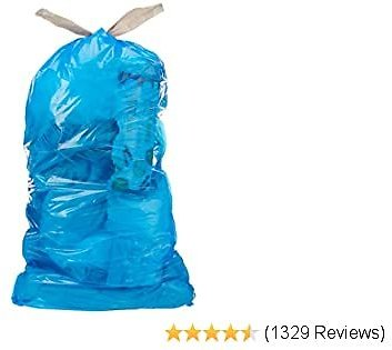 AmazonCommercial 30 Gallon Blue Recycling Bags /w Drawstrings - 1.1 MIL - 30 Count