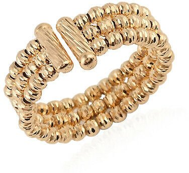 10K Yellow Gold Beaded Anniversary Bridal Ring Gift Jewelry for Women Size 7