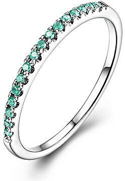 0.2CT Emerald Solid 14K White Gold Simple Anniversary Jewelry Gemstone Band Ring