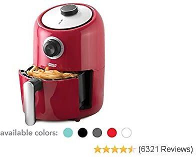 Dash DCAF150GBRD02 Compact Air Fryer Oven Cooker with Temperature Control, Non Stick Fry Basket, Recipe Guide Plus Auto Shut Off Feature, 2qt, Red